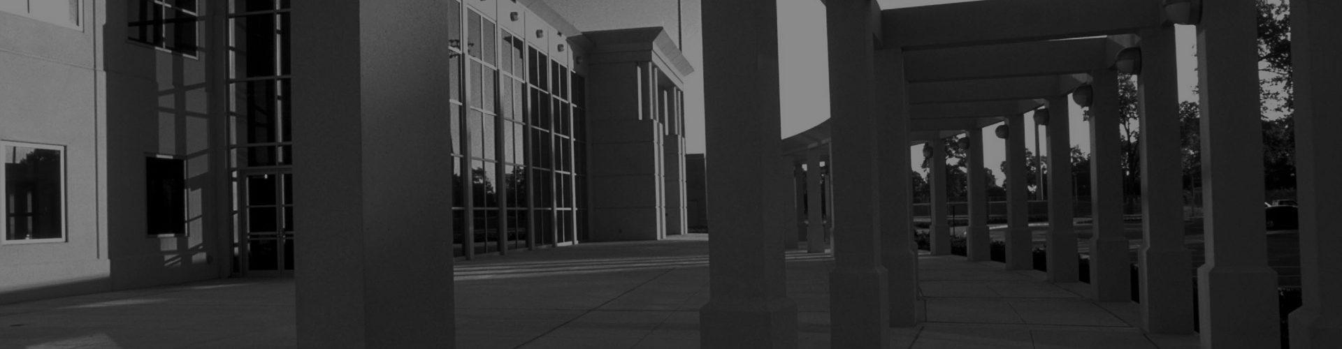 Black and White Photo of University of Houston Campus