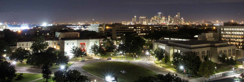 Elevated View of University of Houston College Campus at Night